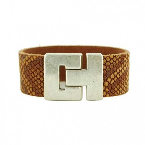 Dames-Leren-Armband-Python-Print-Cognac