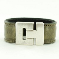 armband leer grijs