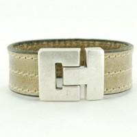 Armband Leer Beige Stiksels-632