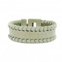 Leren-Gevlochten-Armband-Grijs