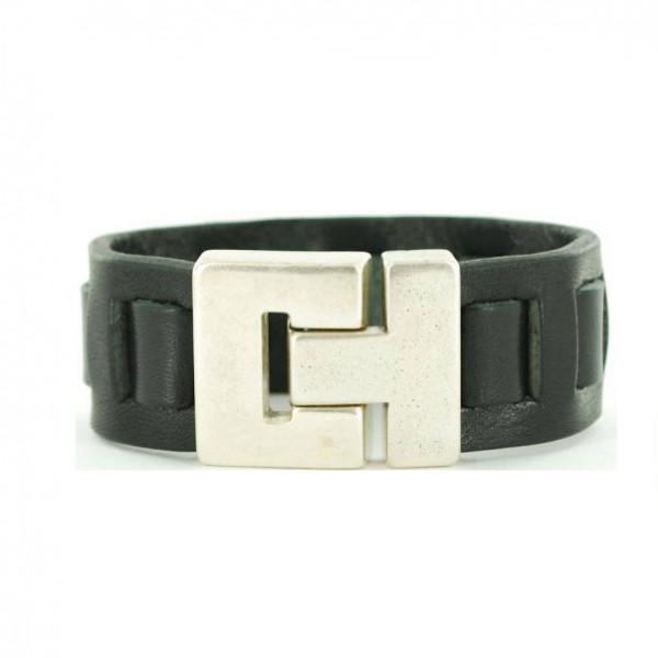 Leren-Gevlochten-Armband-Zwart