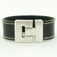 leren armband zwart met stiksels-620