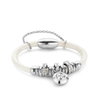 Armband-Staal-Leer-Wit