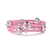 Roze-Leren-bedelarmband-met-Bloemetjes