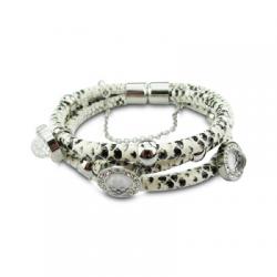 Stalen-Armband-Wit-Zwart-Slangenleer