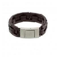 Armband-gevlochten-leer-stalen-sluiting