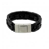 Armband-gevlochten-leer-stalen-sluiting-zwart