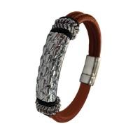 Stalen-Armband-Bruin-leer-Vintagelook