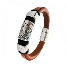 Stalen-Armband-Leer-Bruin-Vintagelook