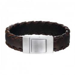 Stalen-armband-donkerbruin-leer