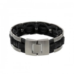 Stalen-armband-zwart-leer
